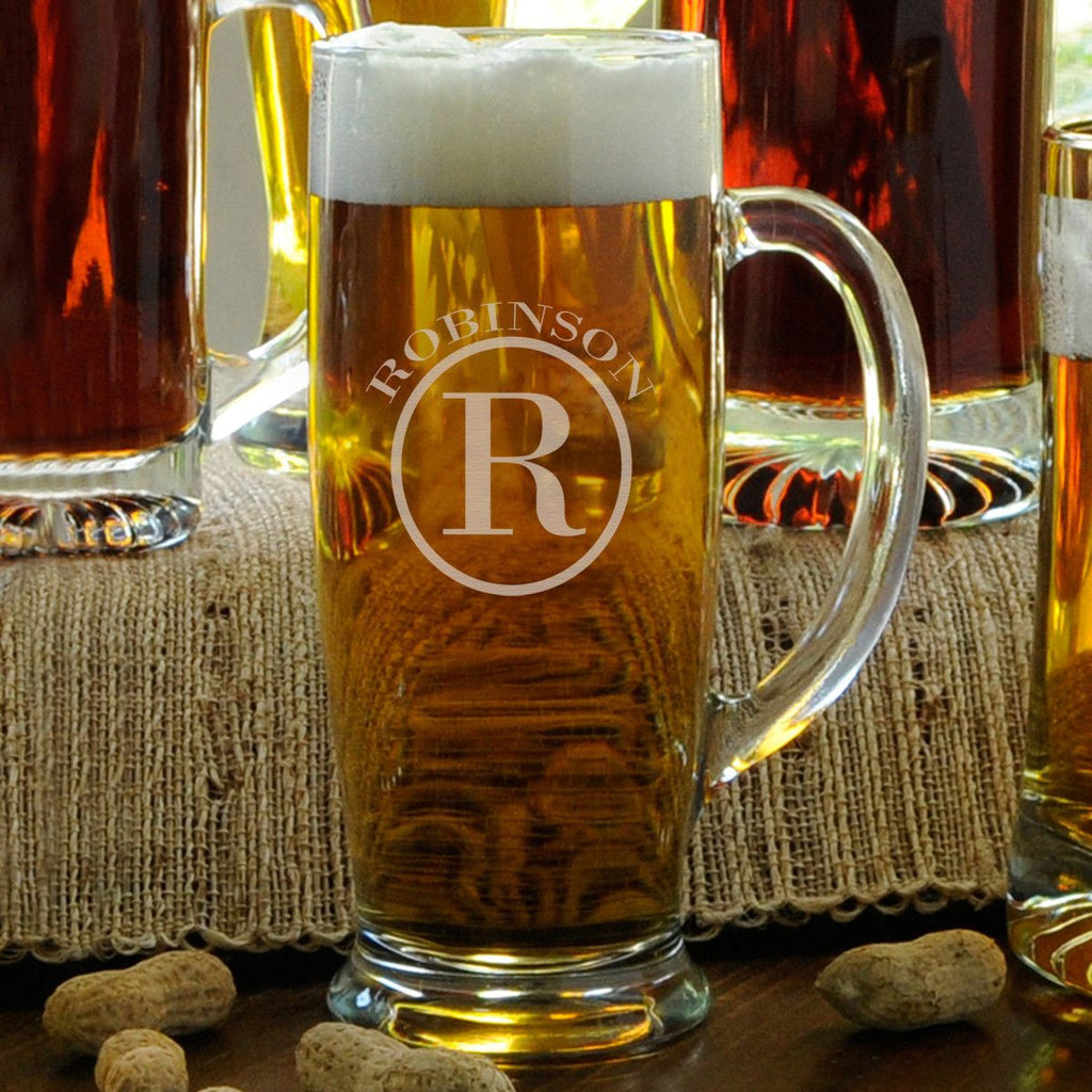 Monogrammed 18 oz. Slim Beer Mug for Groomsmen