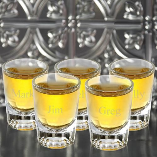 Personalized Shot Glasses - Set of 5 - Distinctive - Groomsmen Gift