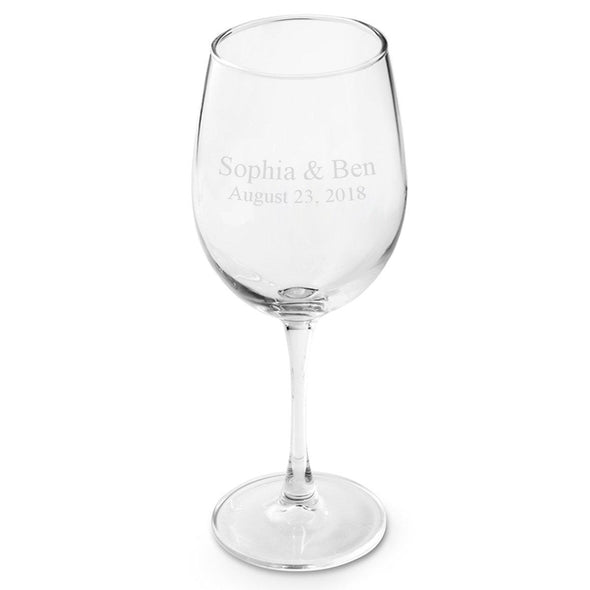 Personalized White Wine Glass-Barware-JDS-2Lines-