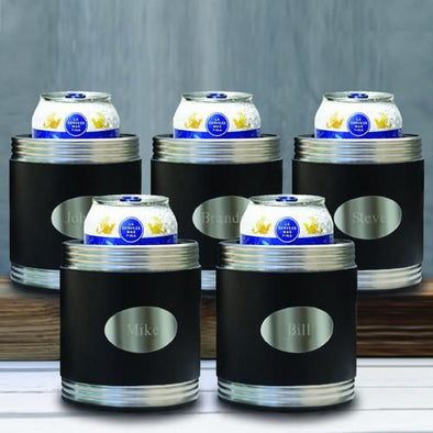 Personalized Set of 5 Black Leather Can Coolers for Groomsmen Gifts-