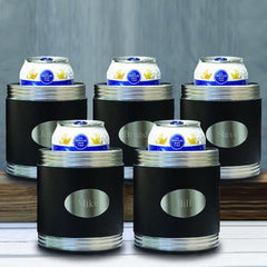 Personalized Set of 5 Black Leather Can Cooler-Groomsmen Gifts