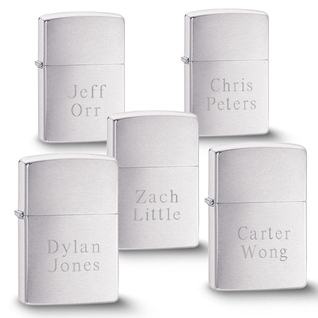Engraved Brushed Silver Zippo Lighters - Set of 5 - Personalized Zippo Lighters for Groomsmen