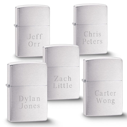 Engraved Brushed Silver Zippo Lighters - Set of 5