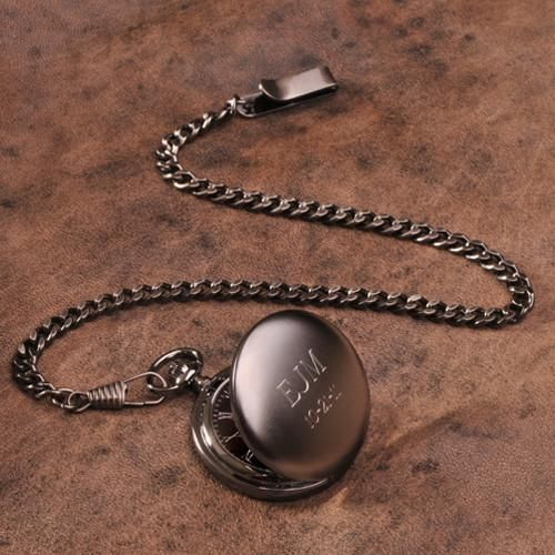 Personalized Groomsmen Gunmetal Pocket Watches - Set of 5