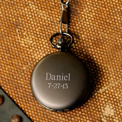 Engraved Groomsmen Pocket Watch-Executive Gifts-JDS-GunMetal-