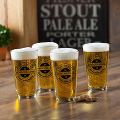 Personalized Beer Glasses - Pub Glasses - Set of 4 - 16 oz.-BrewMaster-
