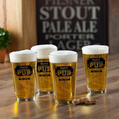 Personalized Beer Glasses - Pub Glasses - Set of 4 - 16 oz.-NeighborhoodPub-