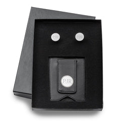Engraved Black Leather Wallet & Pin Stripe Cuff Links Gift Set