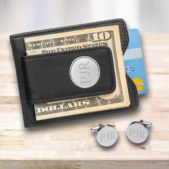 Engraved Black Leather Wallet & Pin Stripe Cuff Links Gift Set-Groomsmen Gifts