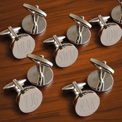 Set of 5 Engraved Pin Stripe Cufflinks for your Groomsmen