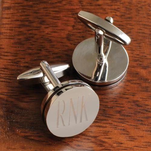 Personalized Groomsmen Silver Pin Stripe Cufflinks - Monogram