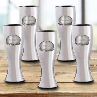 Personalized Groomsmen Beer Glasses Set of 5 - Gunmetal Pilsner - Pewter Medallion - 20 oz.