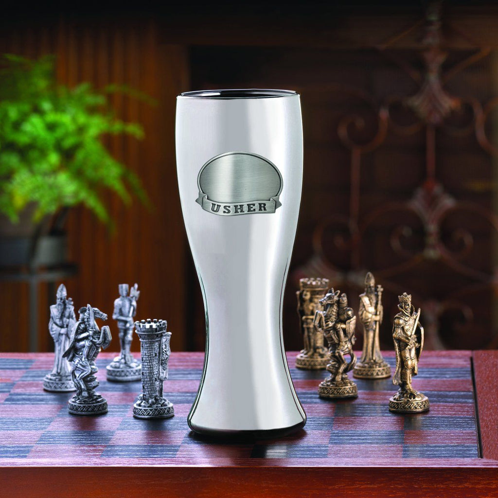 Personalized Beer Glasses - Gunmetal Pilsner - Pewter Medallion - 20 oz.