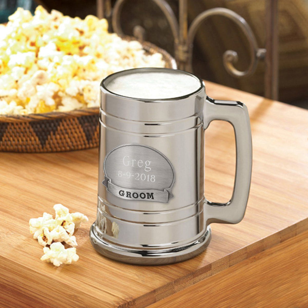Personalized Beer Mugs - Engraved - Gunmetal - Pewter Medallion