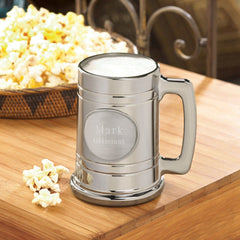 Personalized Beer Mugs - Engraved - Gunmetal - Pewter Medallion-Groomsmen Gifts