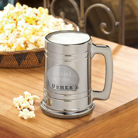 Personalized Beer Mugs - Engraved - Gunmetal - Pewter Medallion-Usher-