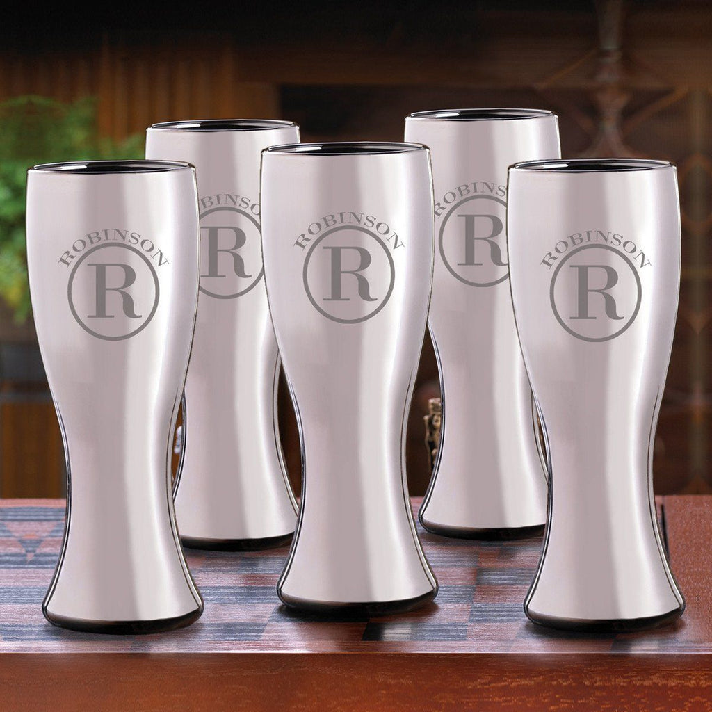 Groomsmen Gunmetal Pilsner Beer Glasses Set of 5