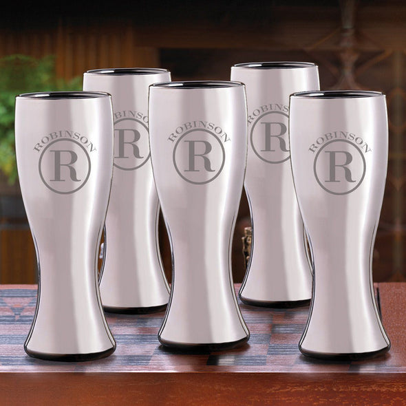 Groomsmen Gunmetal Pilsner Beer Glasses Set of 5-Barware-JDS-Circle-