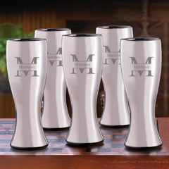 Groomsmen Gunmetal Pilsner Beer Glasses Set of 5-Barware-JDS-Stamped-