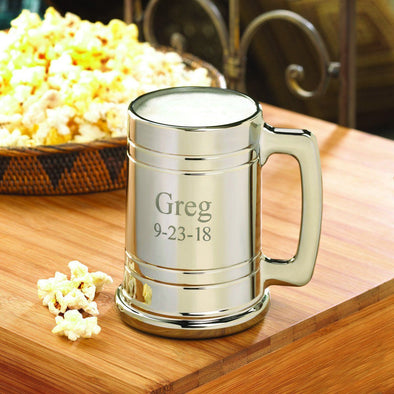 Personalized Beer Mugs - Metallic Beer Mug-2Lines-