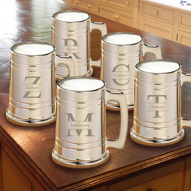 Personalized Groomsmen Gunmetal Beer Mugs - Set of 5-Barware-JDS-Stamped-