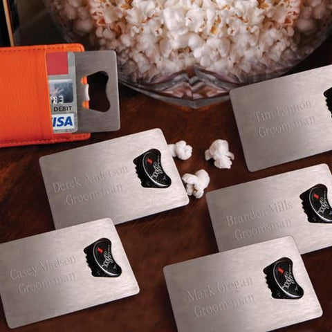 Personalized Set of 5 Credit Card Bottle Opener-Groomsmen Gifts