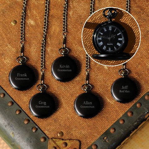 Set of 5 Personalized Midnight Pocket Watch-Groomsmen Gifts