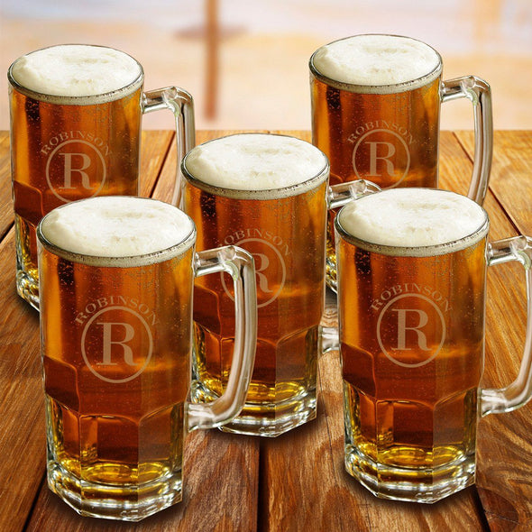 Personalized Groomsmen Glass Beer Mugs Set of 5 - 32 oz.-Barware-JDS-Circle-