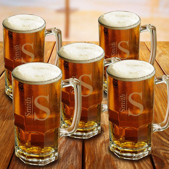 Personalized Groomsmen Glass Beer Mugs Set of 5 - 32 oz.-Barware-JDS-Modern-