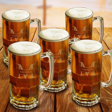 Personalized Groomsmen Glass Beer Mugs Set of 5 - 32 oz.-Barware-JDS-Stamped-