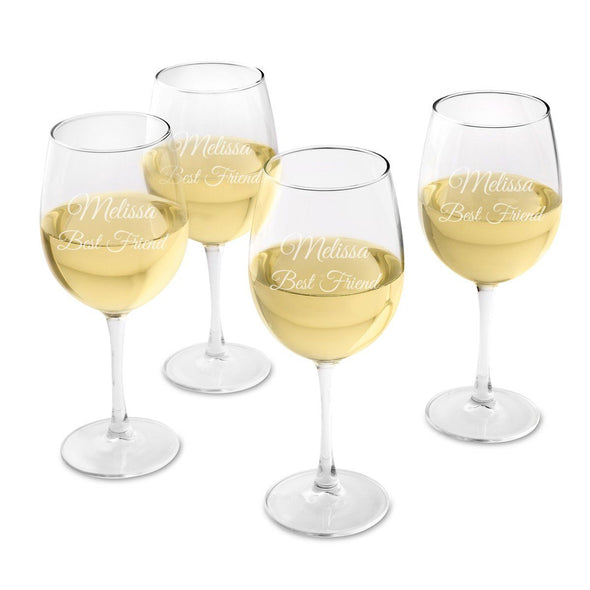 Personalized White Wine Glass - Set of 4 Glasses-2Line-