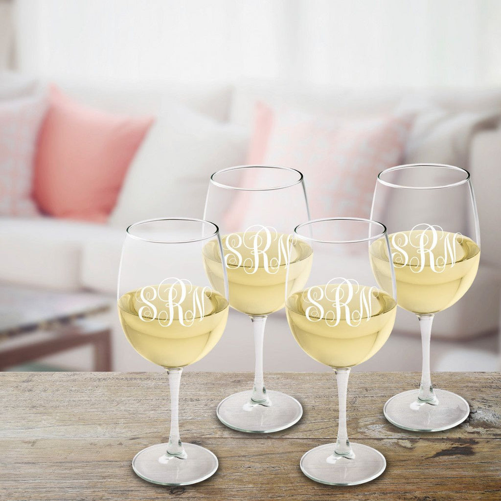 Monogrammed White Wine Glass Set