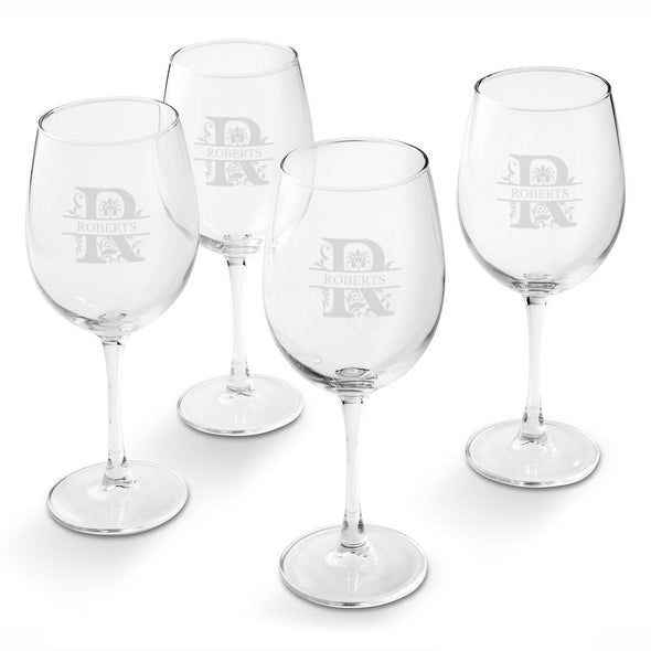 Personalized White Wine Glass - Set of 4 Glasses-Filigree-