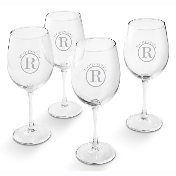 Personalized White Wine Glass - Set of 4 Glasses-Circle-