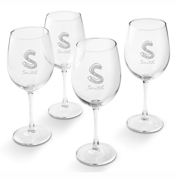Personalized White Wine Glass - Set of 4 Glasses-Kate-