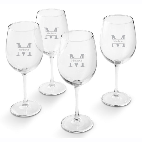 Personalized White Wine Glass - Set of 4 Glasses-Stamped-