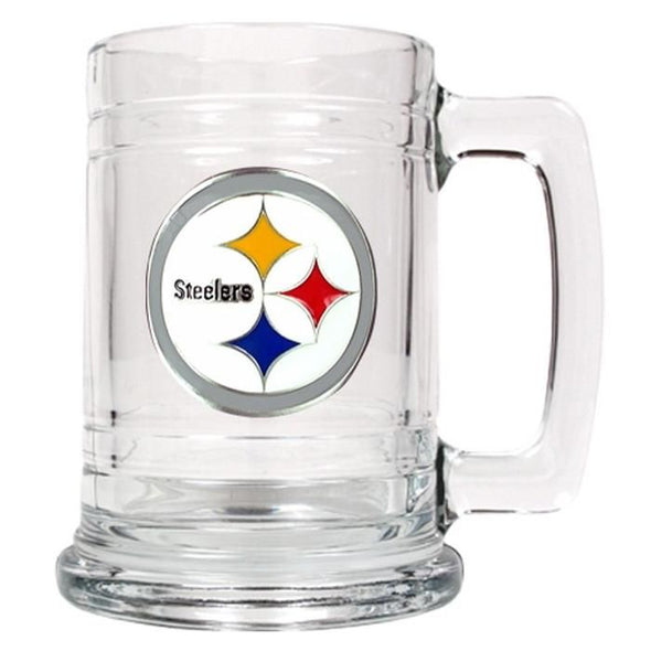 Personalized NFL Glass Beer Mugs-PittsburghSteelers-