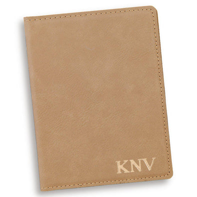 Personalized Light Brown Passport Holder-Gold-