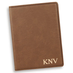 Personalized Dark Brown Passport Holder-Gold-