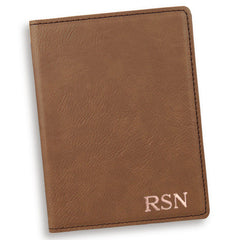 Personalized Dark Brown Passport Holder-RoseGold-
