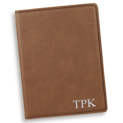 Personalized Dark Brown Passport Holder-Silver-