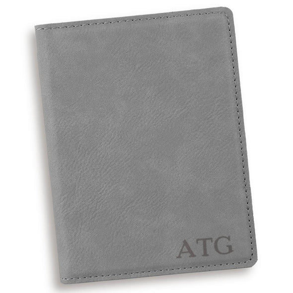 Gray Personalized Passport Holder-Blind-