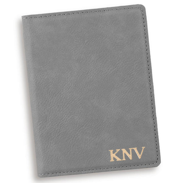 Gray Personalized Passport Holder-Gold-