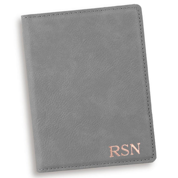 Gray Personalized Passport Holder-RoseGold-