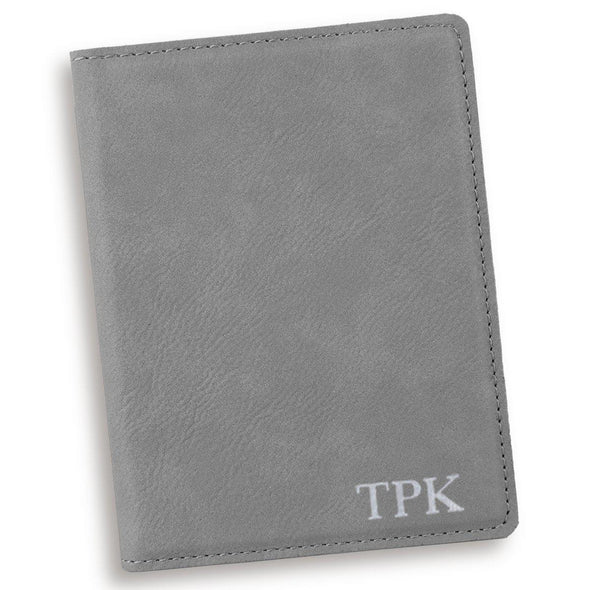 Gray Personalized Passport Holder-Silver-
