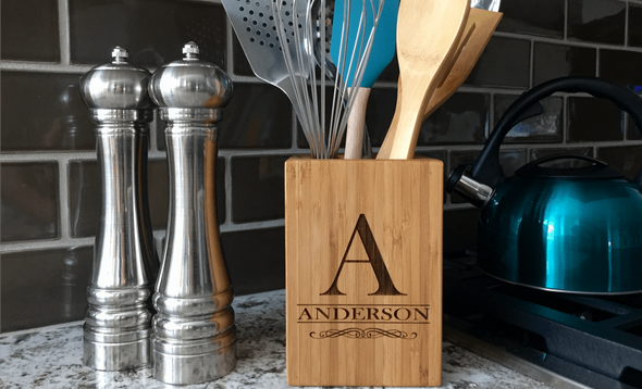 Personalized Bamboo Kitchen Utensil Holder
