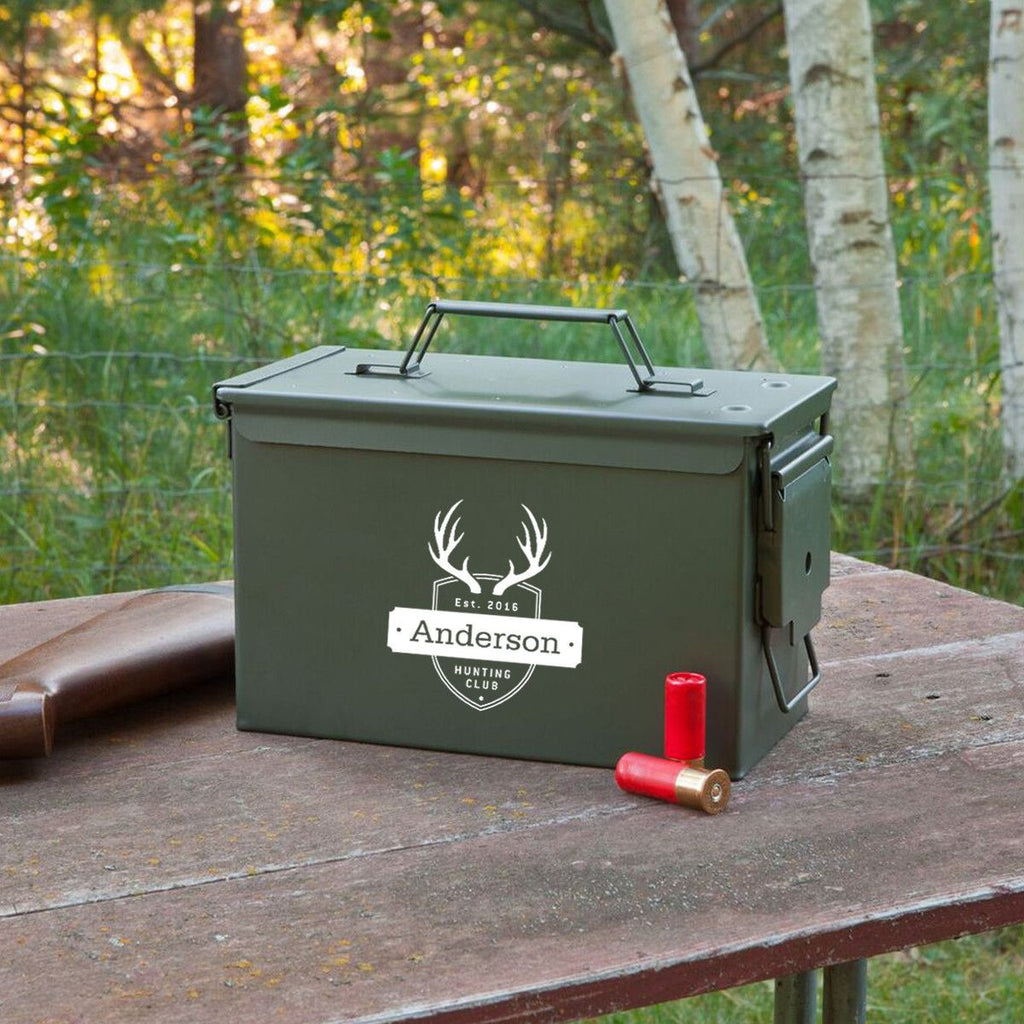 "They look military in nature and scream ""Tough Guys,"" but you can personalise ammo boxes with messages for your groomsmen."