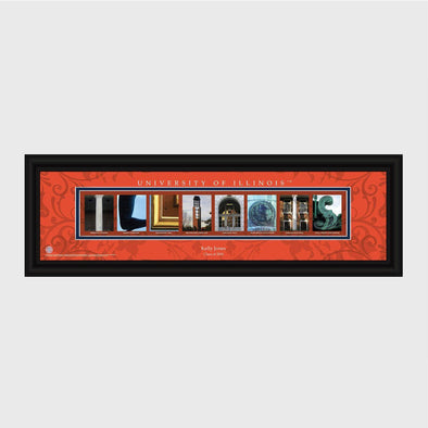 Personalized Big 10 West Division Conference Architectural Campus Art - - University College Art-Illinois-