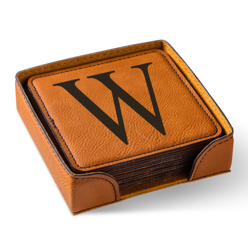 Personalized Rawhide Square Leatherette Coaster Set