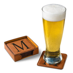 Personalized Rawhide Square Leatherette Coaster Set-Groomsmen Gifts